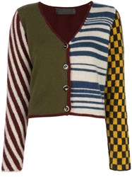 The Elder Statesman Cropped Colour Block Cardigan Multicolour