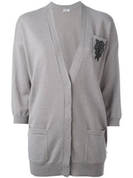 Brunello Cucinelli Embroidered Cardigan Women Cashmere M Grey