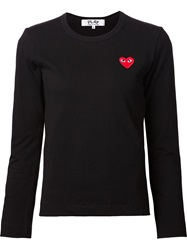 Comme Des Garcons Play Small Heart Logo Print Long Sleeved T Shirt Black