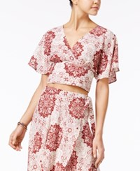 American Rag Printed Surplice Crop Top Only At Macy's Russet Brown