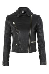 Topshop Real Leather Biker Jacket Black