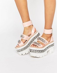 Jeffrey Campbell Chain Chunky Platform Leather Sandals Pink Calf Leather