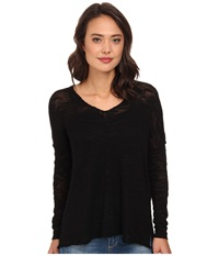 525 America Inside Out Seam V Neck Tunic Black Women's Long Sleeve Pullover