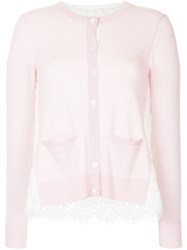 Onefifteen Lace Panel Buttoned Cardigan Nylon Cashmere Pink Purple