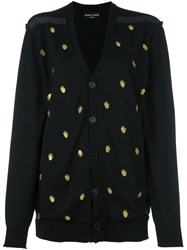 Sonia Rykiel 'Hand' Embroidered Pattern Cardigan Black
