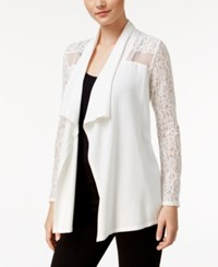 Thalia Sodi Lace Trim Open Front Cardigan Only At Macy's Washed White