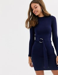 Lipsy High Neck Knitted Dress With Belt Detail In Navy