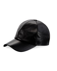 Buscemi Calf Leather Baseball Cap Black