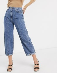 Stradivarius Slouchy Jeans With Front Seam In Medium Wash Blue