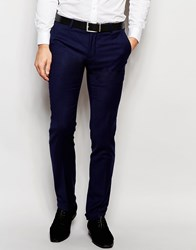 Noose And Monkey Double Pleated Wool Trousers With Turn Up In Slim Fit Navy
