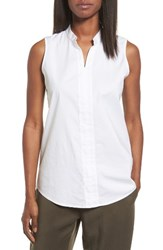 Eileen Fisher Women's Stretch Organic Cotton Classic Collar Tunic White
