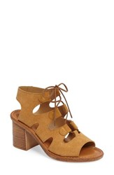 Bella Vita Women's Bre Lace Up Block Heel Sandal Tobacco Suede