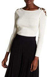 1.State Lace Up Shoulder Cotton Sweater White