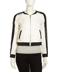Stella And Jamie Two Tone Mixed Media Bomber Jacket Gardenia Black