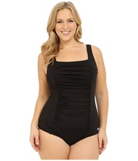 Plus Size Shirred Tank One Piece Speedo Black Women's Swimsuits One Piece