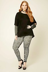 Forever 21 Plus Size Abstract Leggings Black Ivory