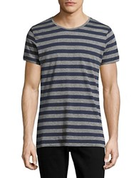Strellson Striped Cotton Blend Tee Navy