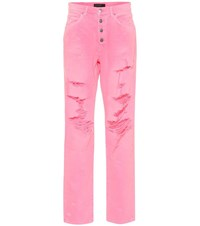Amiri Slouch Destroyed High Rise Jeans Pink