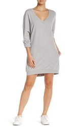 Abound V Neck Fleece Sweater Dress Grey Medium Htr