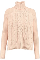 Raoul Cable Knit Turtleneck Sweater Pink