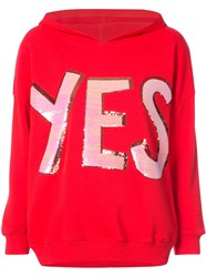 Alice Olivia Yes Hooded Sweatshirt Cotton Red