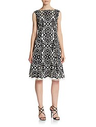 Aidan Mattox Embroidered Fit And Flare Dress Black Ivory