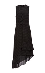 Tibi Estrella Cut Out Ruffle Dress Black