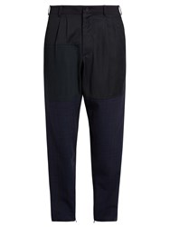 Longjourney Relaxed Fit Patchwork Wool Trousers Navy