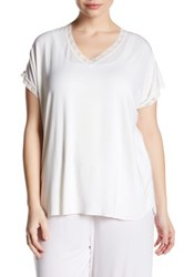 Barefoot Dreams Lace Trim V Neck Tee Plus Size White