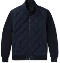 Ermenegildo Zegna Leather Trimmed Quilted Wool And Wool Blend Down Jacket Navy