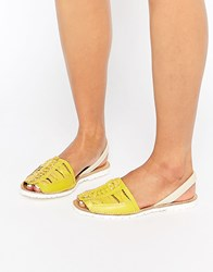 Park Lane Weave Leather Sling Flat Sandals Yellow