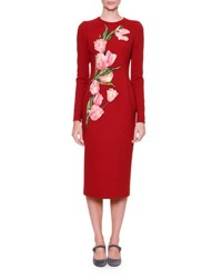 Dolce And Gabbana Long Sleeve Pencil Dress W Tulip Appliques Red Pink Vinaccia Chiaro