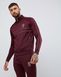 Gym King Muscle Track Top In Burgundy With Gold Side Stripes Red