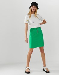 B.Young Colourblock Denim Skirt Green
