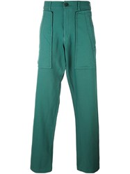 Comme Des Garcons Shirt Straight Leg Trousers Green