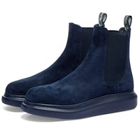 Alexander Mcqueen Suede Wedge Sole Chelsea Boot Blue