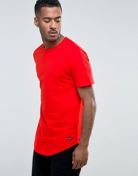Only And Sons Longline T Shirt With Curved Hem Fiery Red