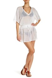 Vitamin A 3 4 Dolman Sleeve Lucette Plunge Open Knit Cover Up White