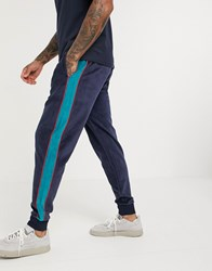 Original Penguin Velour Contrast Side Taping Cuffed Joggers In Navy