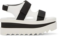 Stella Mccartney White And Black Platform Velcro Sandal