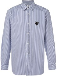Comme Des Garcons Play Striped Button Down Shirt Blue