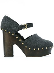 L'autre Chose Ankle Strap Clogs Grey