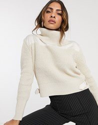 River Island Waffle Knit Sweater In Cream