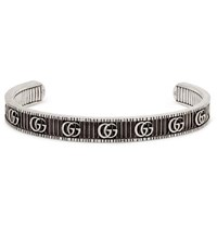 Gucci Engraved Burnished Sterling Silver Cuff Silver
