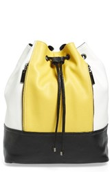 Cesca Kelsie Colorblock Faux Leather Drawstring Backpack
