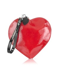 Fontanelli Patent Leather Heart Coin Purse Red