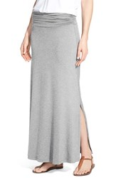 Bobeau Women's Ruched Waist Side Slit Maxi Skirt Heather Charcoal