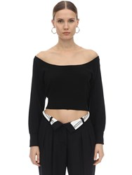 Alexander Wang Wide Round Neck Wool Sweater Black
