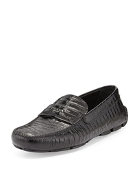 Prada Stamped Croc Loafer Black