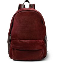 Brunello Cucinelli Leather Trimmed Suede Backpack Burgundy